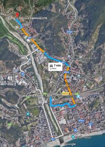 Mappa con l'itinerario